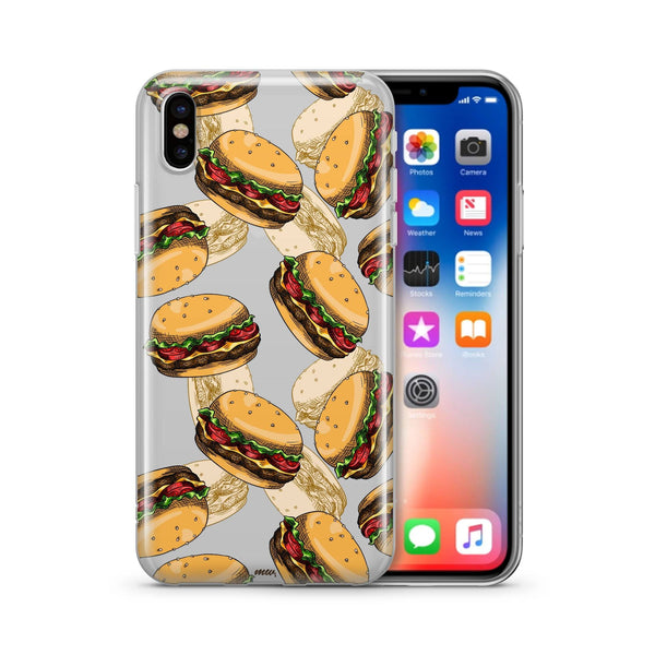 Burger Overload  - Clear Case Cover - Milkyway Cases -  iPhone - Samsung - Clear Cut Silicone Phone Case Cover
