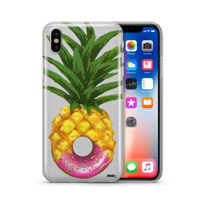 Donut Pineapple - Clear TPU Case Cover - Milkyway Cases -  iPhone - Samsung - Clear Cut Silicone Phone Case Cover