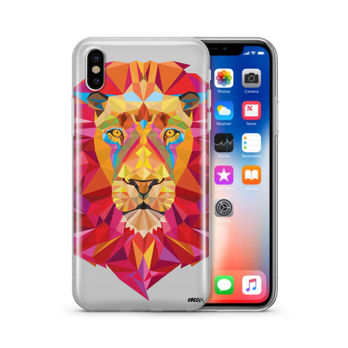 Geometric Lion - Clear TPU Case Cover
