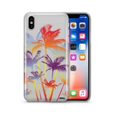 Hipster Palm Tree - Clear TPU Case Cover Milkyway iPhone Samsung Clear Cute Silicone 8 Plus 7 X Cover