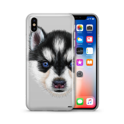 Husky Puppy - Clear Case Cover Milkyway iPhone Samsung Clear Cute Silicone 8 Plus 7 X Cover