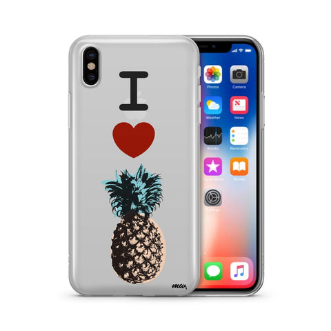 I Love Pineapples - Clear TPU Case Cover