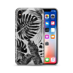 Monochrome Palm Leaves - Clear Case Cover