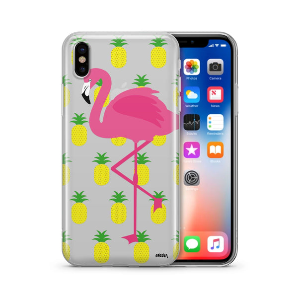 Pineapples and a Flamingo - Clear TPU Case Cover - Milkyway Cases -  iPhone - Samsung - Clear Cut Silicone Phone Case Cover