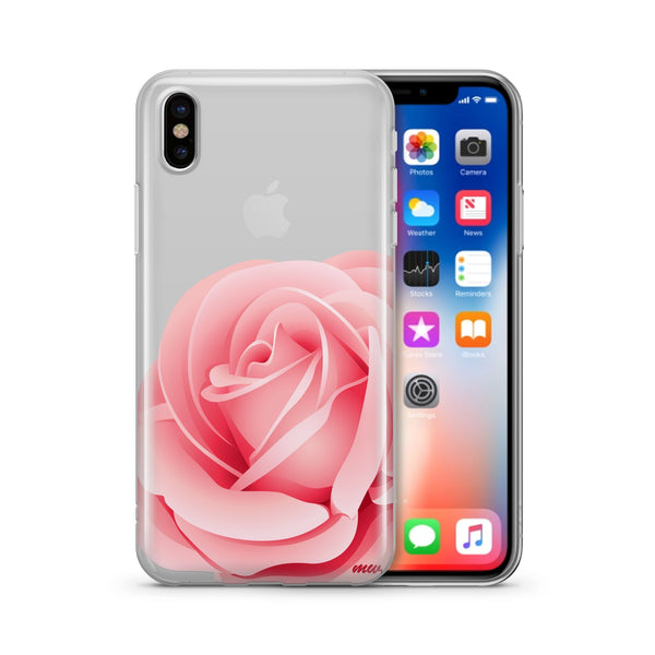 Pink Rose - Clear TPU Case Cover - Milkyway Cases -  iPhone - Samsung - Clear Cut Silicone Phone Case Cover