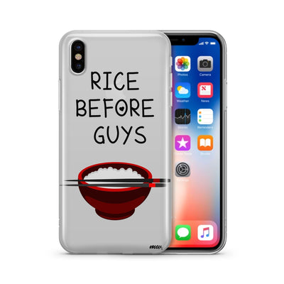 Rice Before Guys - Clear TPU Case Cover - Milkyway Cases -  iPhone - Samsung - Clear Cut Silicone Phone Case Cover