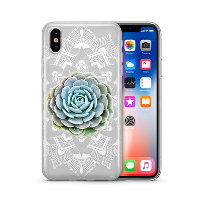 Succulent Mandala - Clear Case Cover - Milkyway Cases -  iPhone - Samsung - Clear Cut Silicone Phone Case Cover