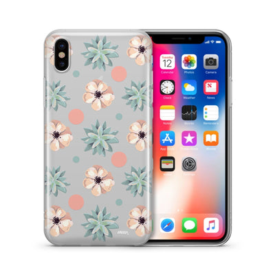 Succulent Polka  - Clear Case Cover - Milkyway Cases -  iPhone - Samsung - Clear Cut Silicone Phone Case Cover