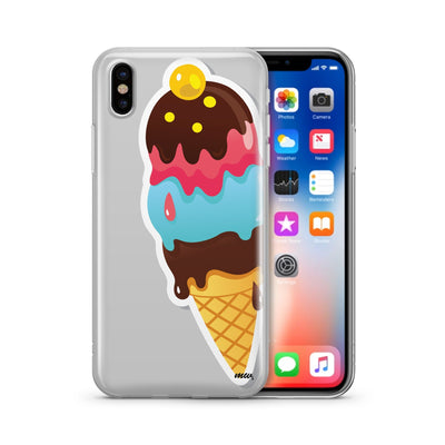 Summertime Ice Cream - Clear TPU Case Cover - Milkyway Cases -  iPhone - Samsung - Clear Cut Silicone Phone Case Cover