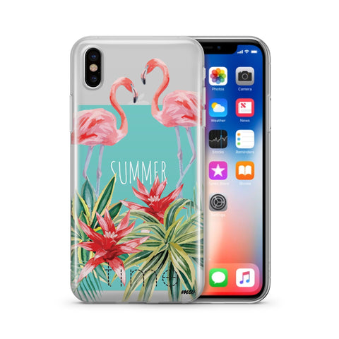Summertime Flamingo - Clear TPU Case Cover