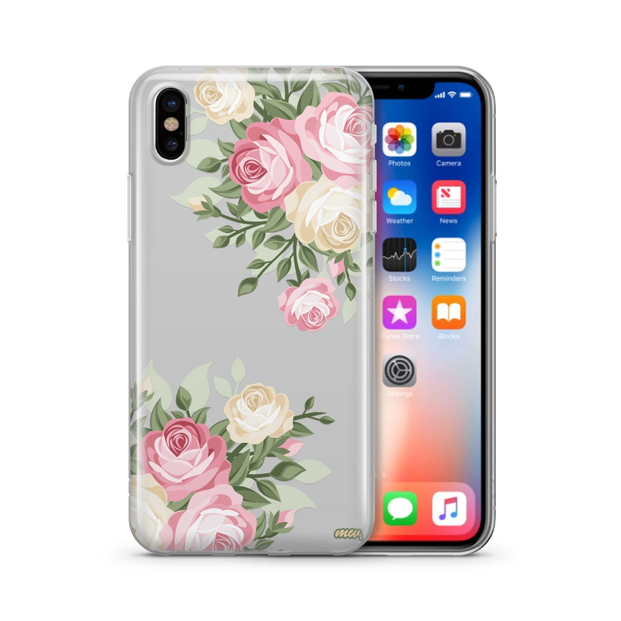 Vintage Roses - Clear TPU Case Cover - Milkyway Cases -  iPhone - Samsung - Clear Cut Silicone Phone Case Cover