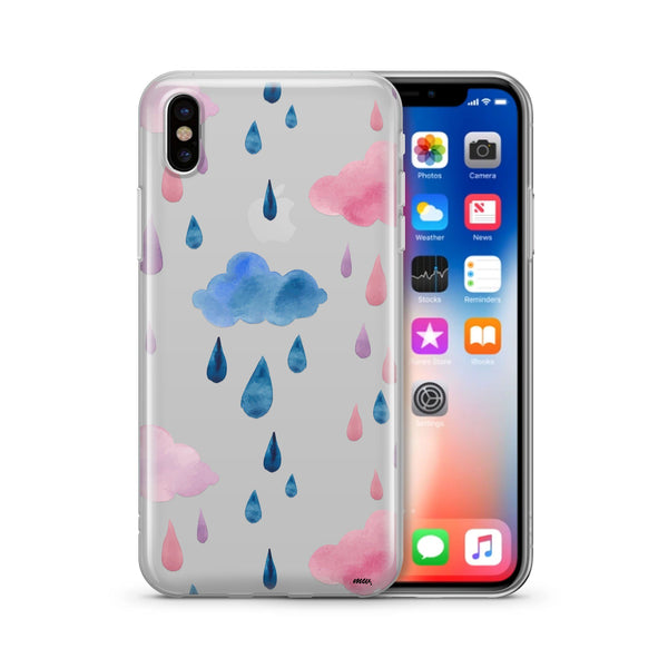 Watercolor Rain - Clear TPU Case Cover - Milkyway Cases -  iPhone - Samsung - Clear Cut Silicone Phone Case Cover