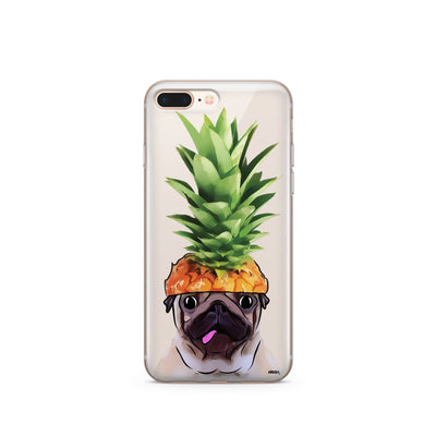 Pineapple Pug - Clear Case Cover - Milkyway Cases -  iPhone - Samsung - Clear Cut Silicone Phone Case Cover