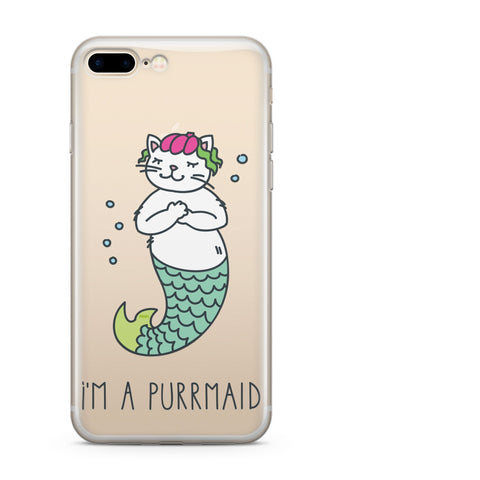 'Purrmaid' - Clear TPU Case Cover