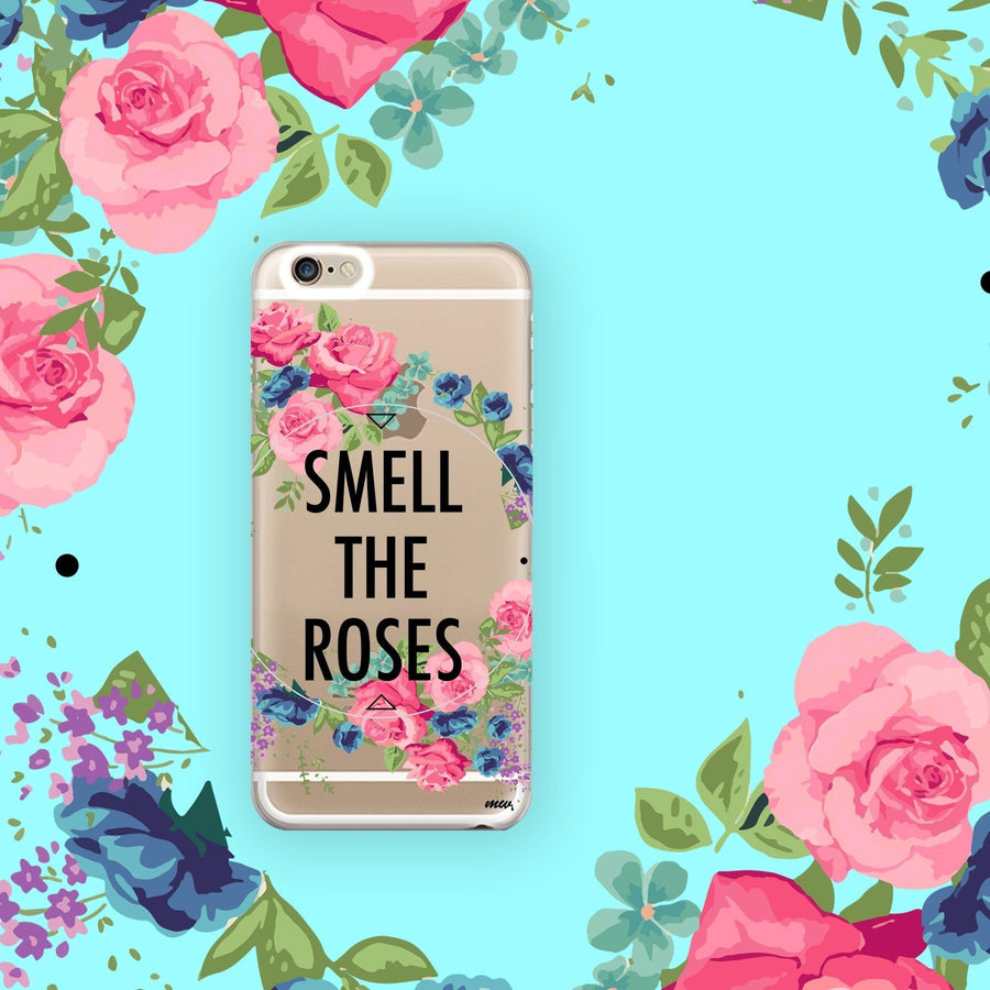 Smell The Roses - Clear TPU Case Cover - Milkyway Cases -  iPhone - Samsung - Clear Cut Silicone Phone Case Cover