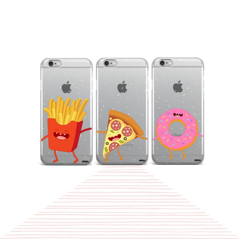 Squad Case Set (Fries, Pizza, Donut) - Clear TPU Case Cover