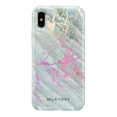Holographic iPhone Case SLATE MARBLE - Milkyway Cases -  iPhone - Samsung - Clear Cut Silicone Phone Case Cover