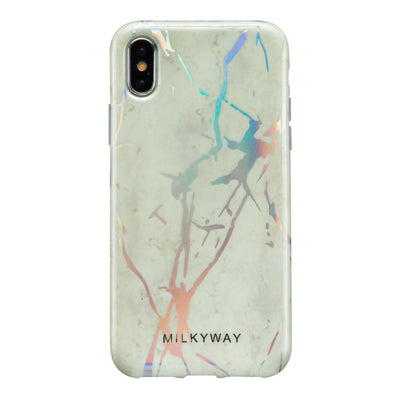 White Marble Holographic Case - Clear Cut Silicone iPhone Cover - Milkyway Cases