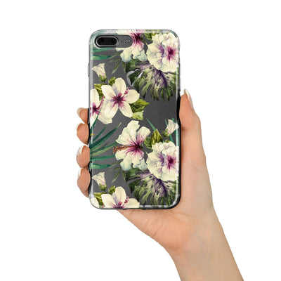 Walercolor Hibiscus - Clear TPU Case Cover - Milkyway Cases -  iPhone - Samsung - Clear Cut Silicone Phone Case Cover