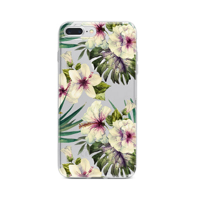 Watercolor Hibiscus Clear TPU Case - Clear Cut Silicone iPhone Cover - Milkyway Cases