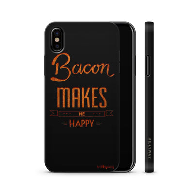 Wood  - Bacon Makes Me Happy - Milkyway Cases -  iPhone - Samsung - Clear Cute Silicone Phone Case Cover