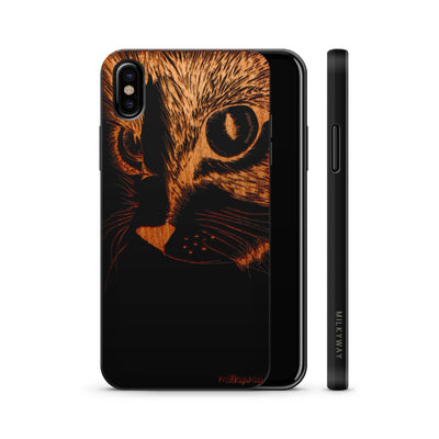 Wood  - Cat Eyes - Milkyway Cases -  iPhone - Samsung - Clear Cute Silicone Phone Case Cover