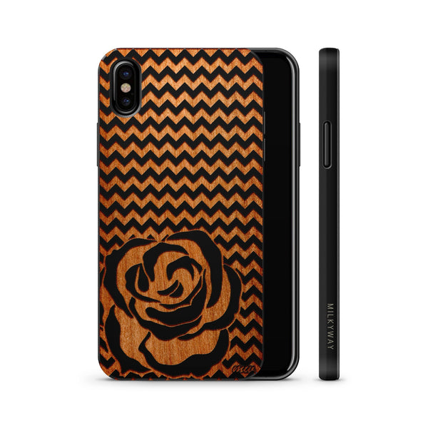 Wood  - Chevron Rose - Milkyway Cases -  iPhone - Samsung - Clear Cute Silicone Phone Case Cover