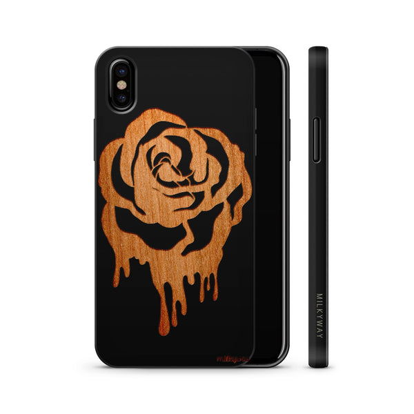 Wood  - Dripping Rose - Milkyway Cases -  iPhone - Samsung - Clear Cute Silicone Phone Case Cover