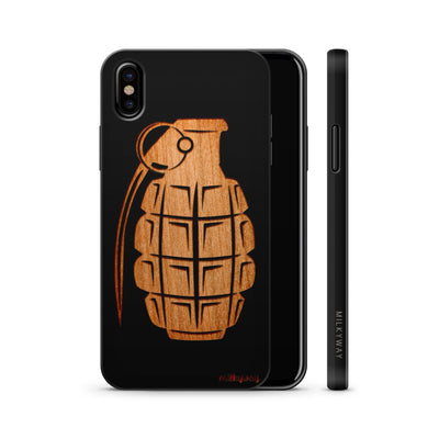 Wood  - Grenade - Milkyway Cases -  iPhone - Samsung - Clear Cute Silicone Phone Case Cover