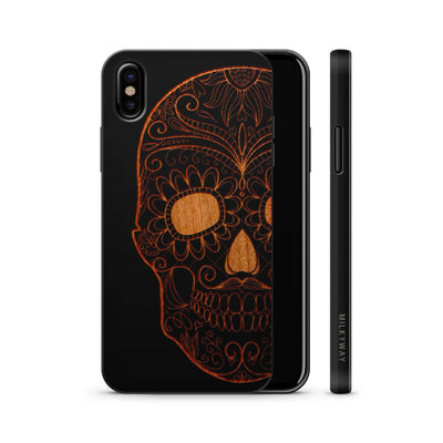 Wood  - Half Sugar Skull - Milkyway Cases -  iPhone - Samsung - Clear Cute Silicone Phone Case Cover