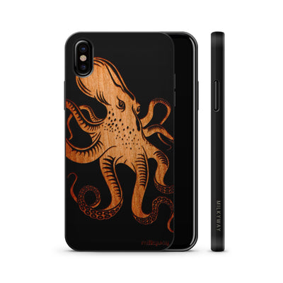 Wood  - Kraken Octopus - Milkyway Cases -  iPhone - Samsung - Clear Cute Silicone Phone Case Cover