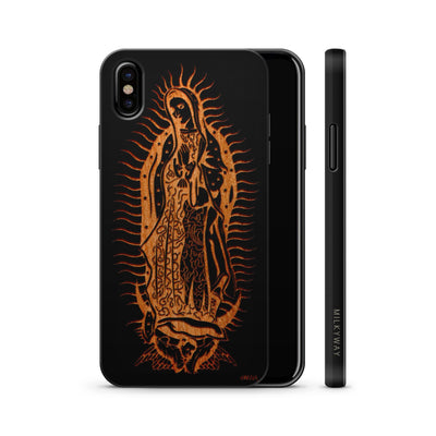 Wood  - Lady of Guadalupe - Milkyway Cases -  iPhone - Samsung - Clear Cute Silicone Phone Case Cover