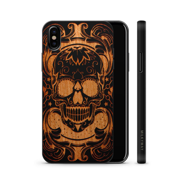 Wood  - Maniac Skull - Milkyway Cases -  iPhone - Samsung - Clear Cute Silicone Phone Case Cover