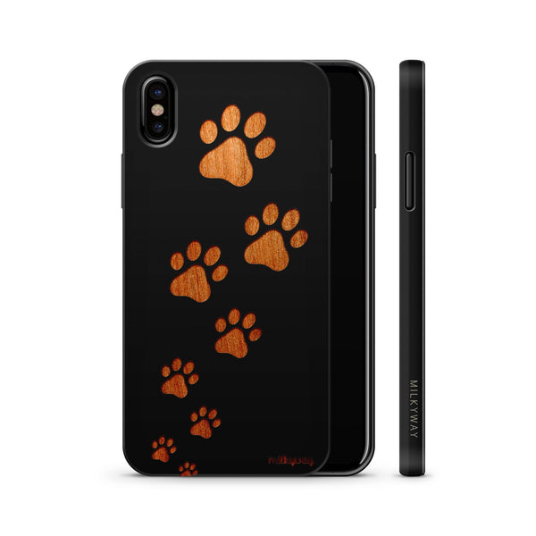 Wood  - Paw Prints - Milkyway Cases -  iPhone - Samsung - Clear Cute Silicone Phone Case Cover