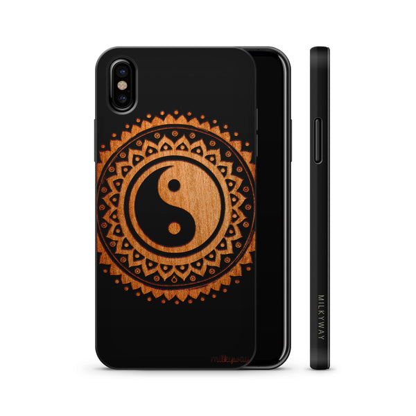 Wood  - Tribal Yin Yang - Milkyway Cases -  iPhone - Samsung - Clear Cute Silicone Phone Case Cover