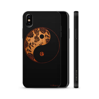 wood iphone x floral yin yang