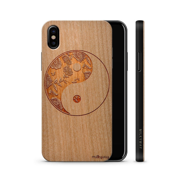 wood iphone x black floral yin yang