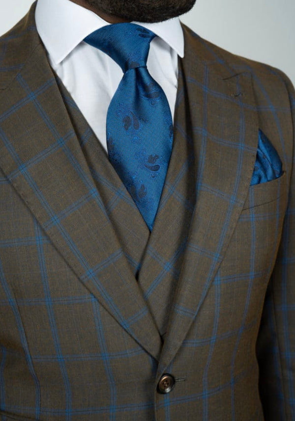 Three Piece Brown Suit w/Blue Stripes