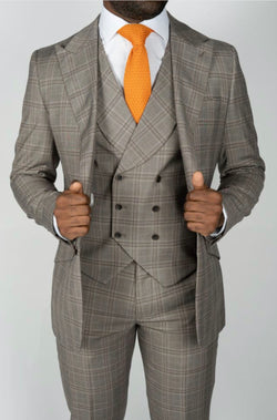 Three Piece Brown Plaid Suit