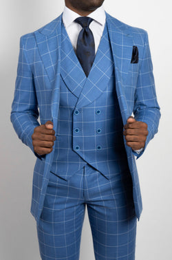 Blue Checkered Three-Piece Suit