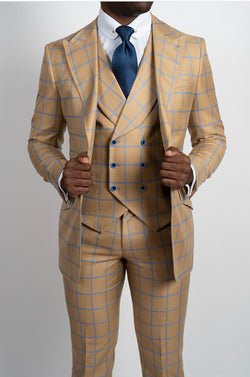 Three Piece Tan Suit with Light Blue Plaid