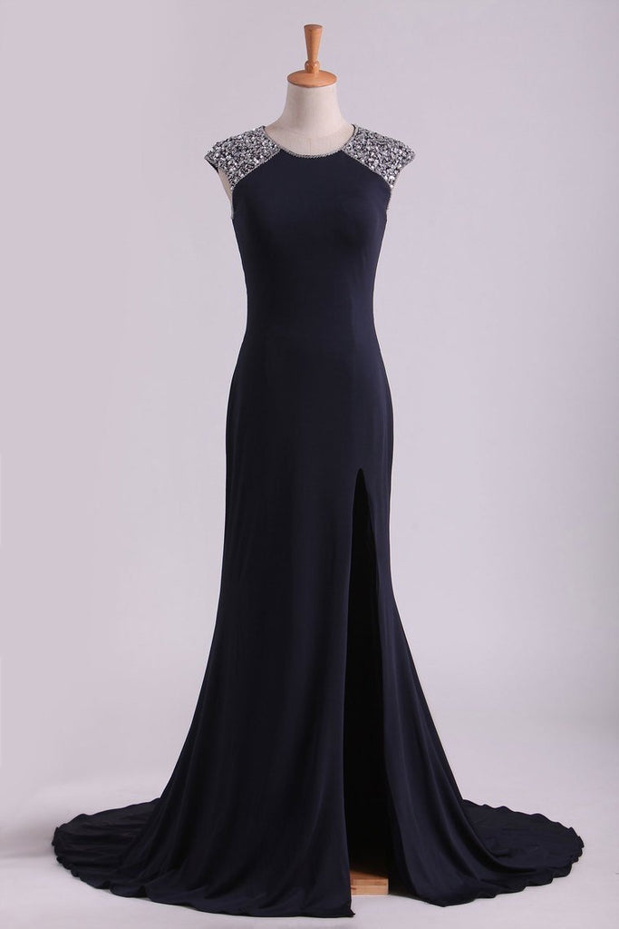 Scoop Sheath Spandex With Beading & Slit Sweep Train Prom