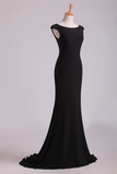 2019 Black Mermaid Evening Dresses Bateau Chiffon Sweep Train Open Back