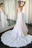 Charming Mermaid Ivory Sleeveless Lace Wedding Dresses With STCPRAYR4PA
