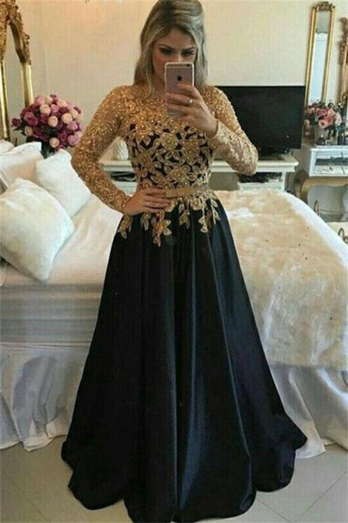 Long Sleeves Lace Up Gold And Black Prom Dresses Mother Of The Bridal