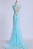 2019 Two Pieces Prom Dresses Scoop Sheath With Beading Sweep
