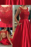 Elegant Jewel Sleeveless Floor-Length Red Beads Open Back Pockets Prom Dresses