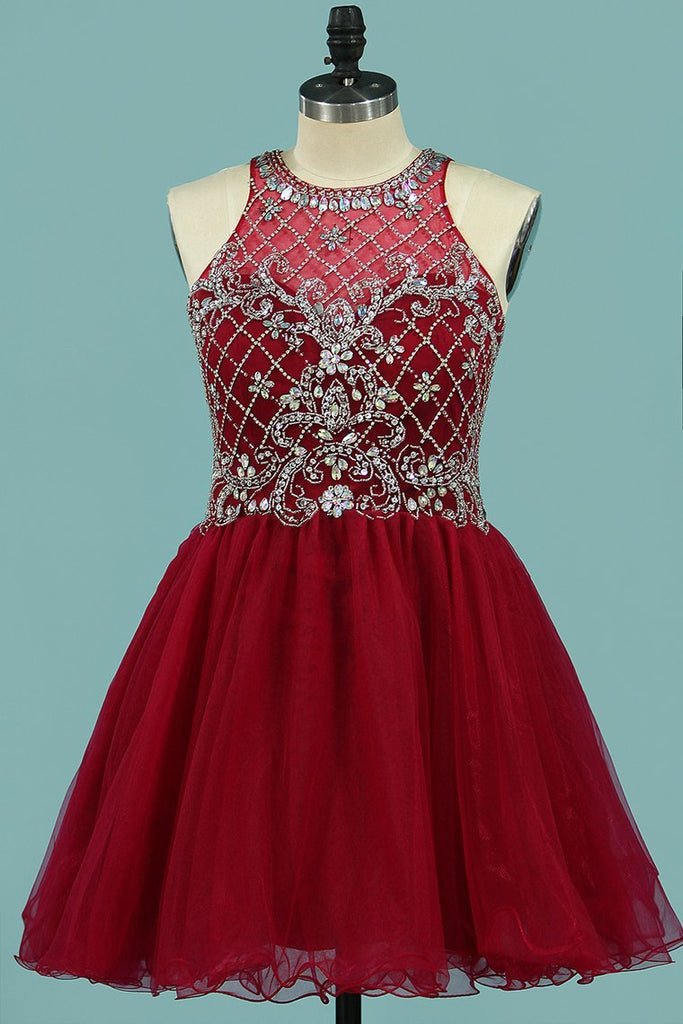 2021 Scoop Homecoming Dresses A Line Tulle With