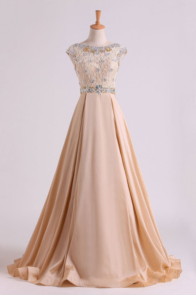 2021 Prom Dresses Bateau Ball Gown Lace Bodice With Long Taffeta Skirt Sweep Train