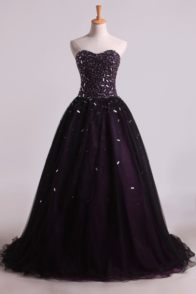 2019 Quinceanera Dresses Ball Gown Sweetheart Floor Length With Beading And